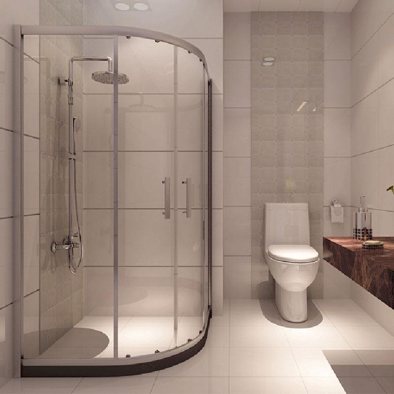 箭牌卫浴(arrow) 浴室 钢化玻璃 扇形移门式 简易淋浴房 AL034AM