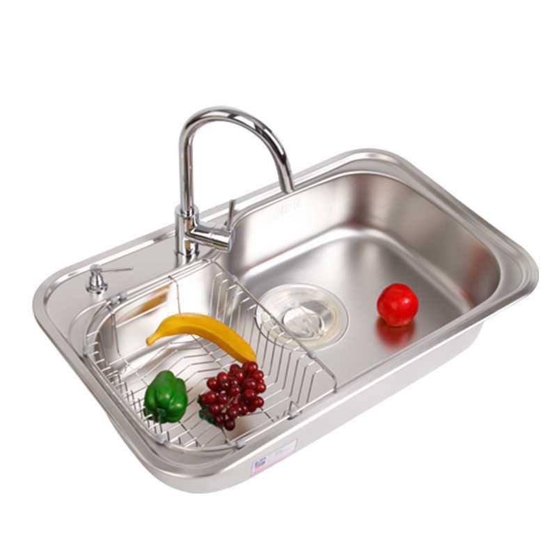 韩国白鸟(BAEKJO)BAEKJO水槽 304不锈钢套餐 大单槽 厨房 840X510 洗菜盆 RS840