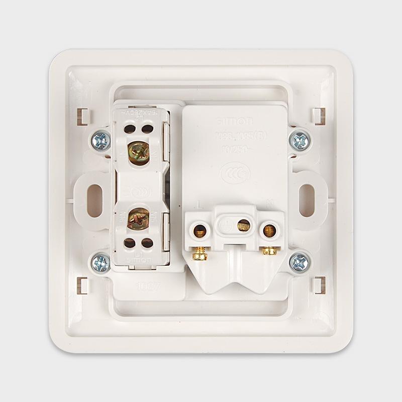 西蒙正品(Simon)39系列二三插五孔插座带单控开关插座 雅白31086B