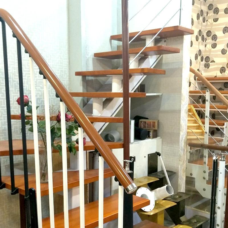 艺步精品楼梯(YIBU)榉木踏板阁楼楼梯定制 简约风直梁钢梯(420X170)13+1