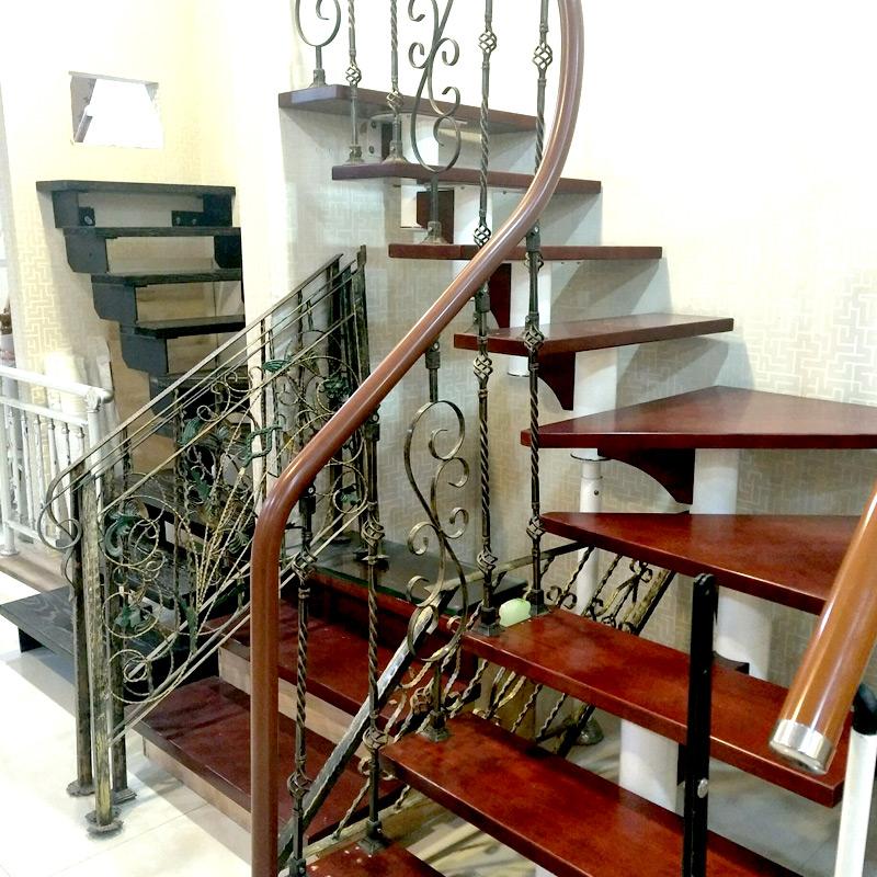 艺步精品楼梯(YIBU)阁楼楼梯定制 橡胶木踏板楼梯 旋转室内直梁钢梯(320X170)13+1