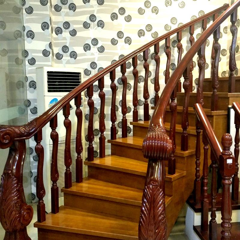 艺步精品楼梯(YIBU)定制实木阁楼扶手楼梯 简约旋转直梁钢梯  烤漆雕花龙头立柱木梯