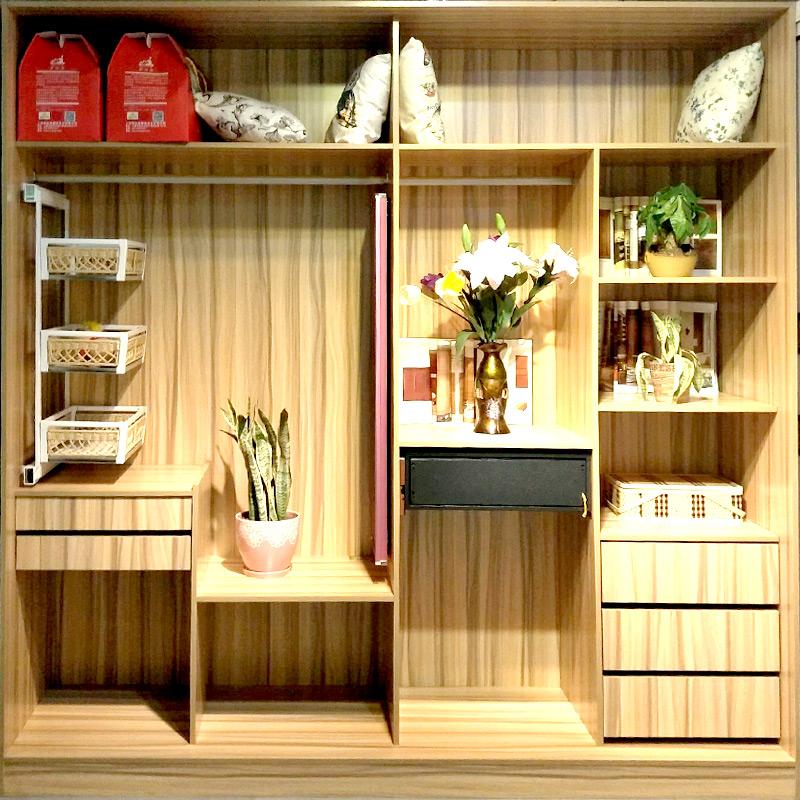 爱德橱柜衣柜(aide)组装经济简约衣柜 卧室多功能衣柜组合 开放式暖白多层板