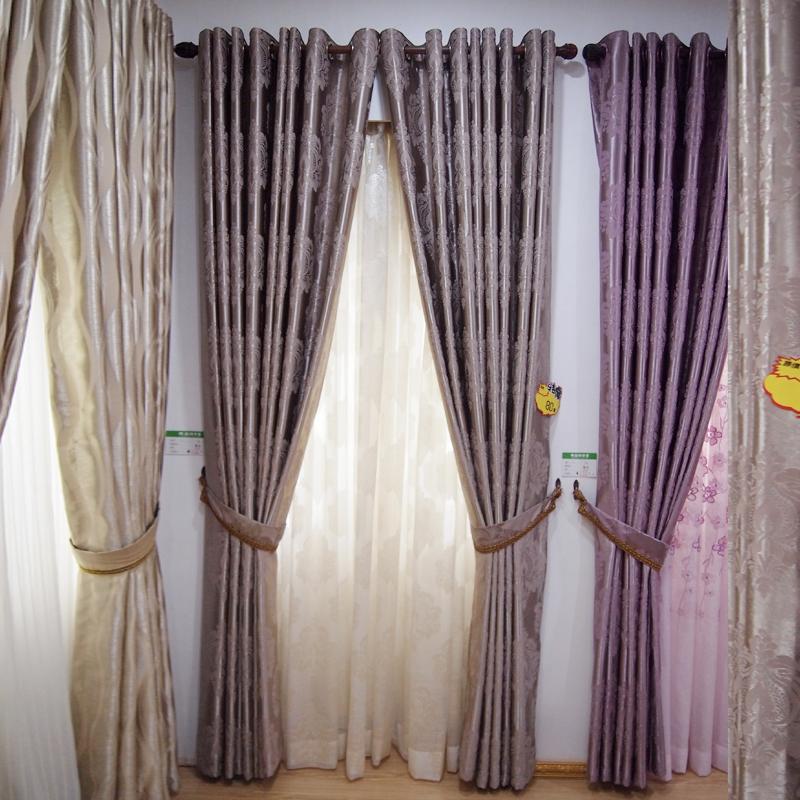 万祥窗帘墙纸定制飘窗窗帘欧式印花窗帘布成品遮光落地窗纱客厅卧室 棕色 紫色