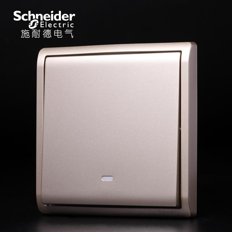 施耐德(Schneider)开关插座面板 86型 丰尚香槟金 单开单联单控16A带荧光开关E8231L1FWG
