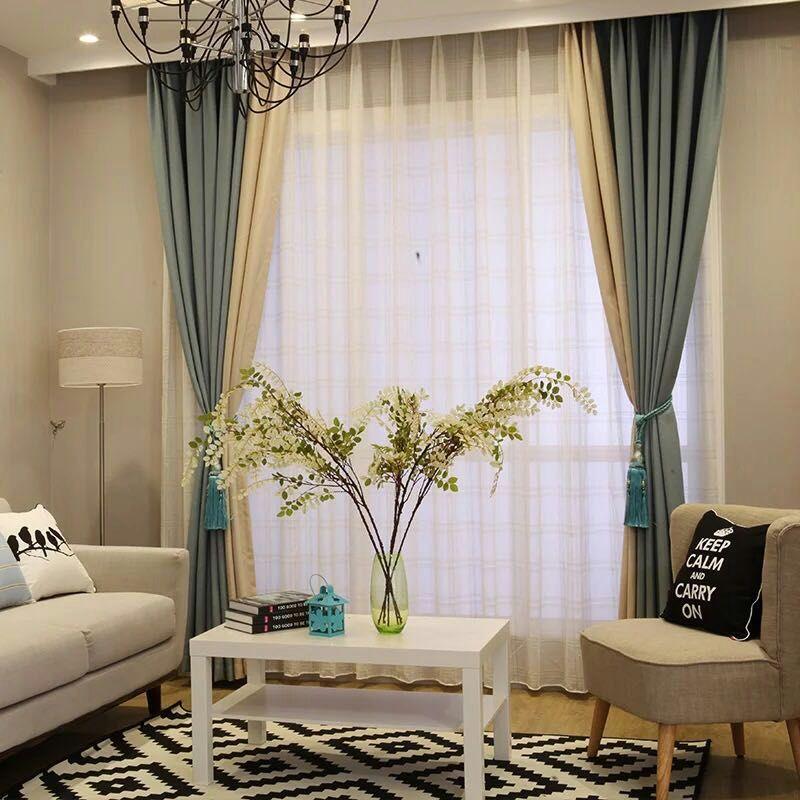 天丽墙纸(DELIGHT)窗帘布简约现代成品卧室飘窗客厅落地窗纱帘全遮光拼接仿棉麻窗帘