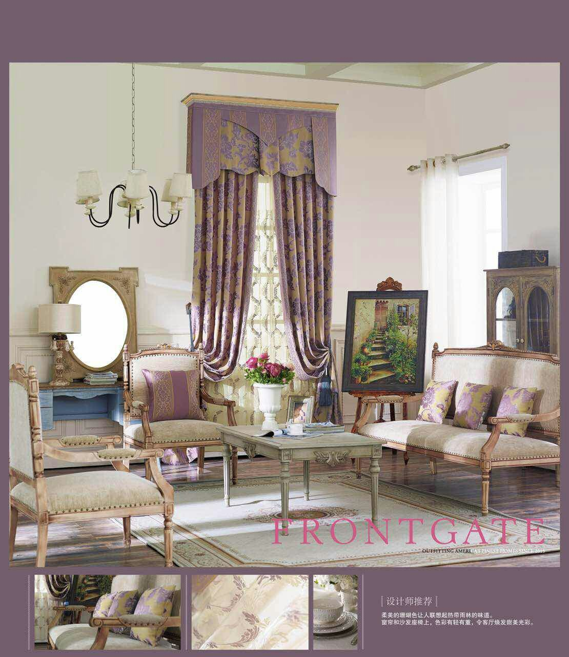 天丽墙纸(DELIGHT)高档欧式窗帘奢华雪尼尔遮光客厅卧室餐厅豪华大气美式窗帘定制