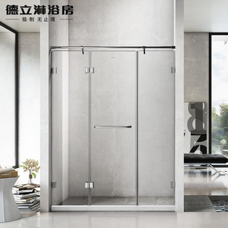 德立淋浴房(Deli)S9 整体304全不锈钢一字型隔断浴室玻璃定制简易洗浴间