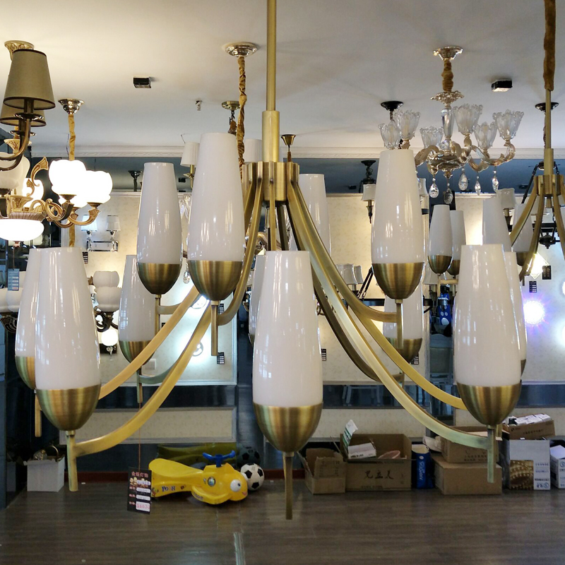 金烁灯饰美式全铜吊灯美式现代客厅餐厅乡村纯铜灯具