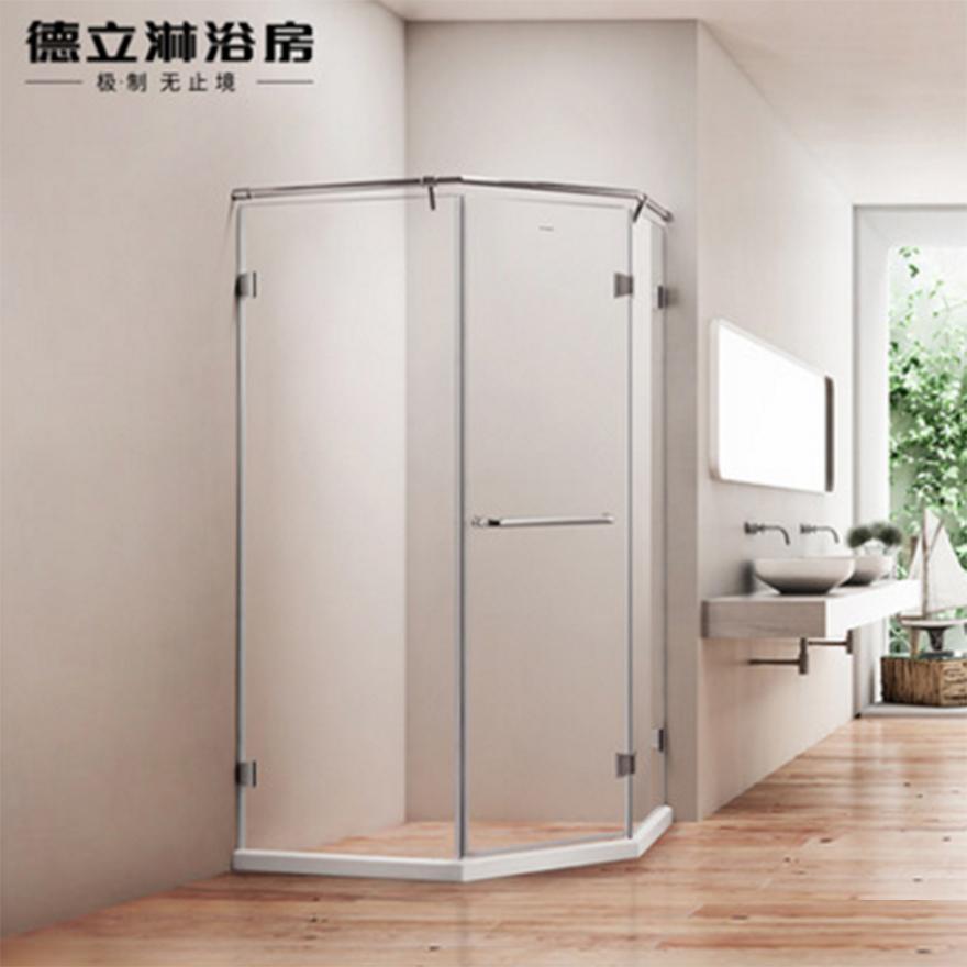 德立淋浴房(Deli)D9 整体304全不锈钢钻石型隔断浴室玻璃定制简易洗浴间