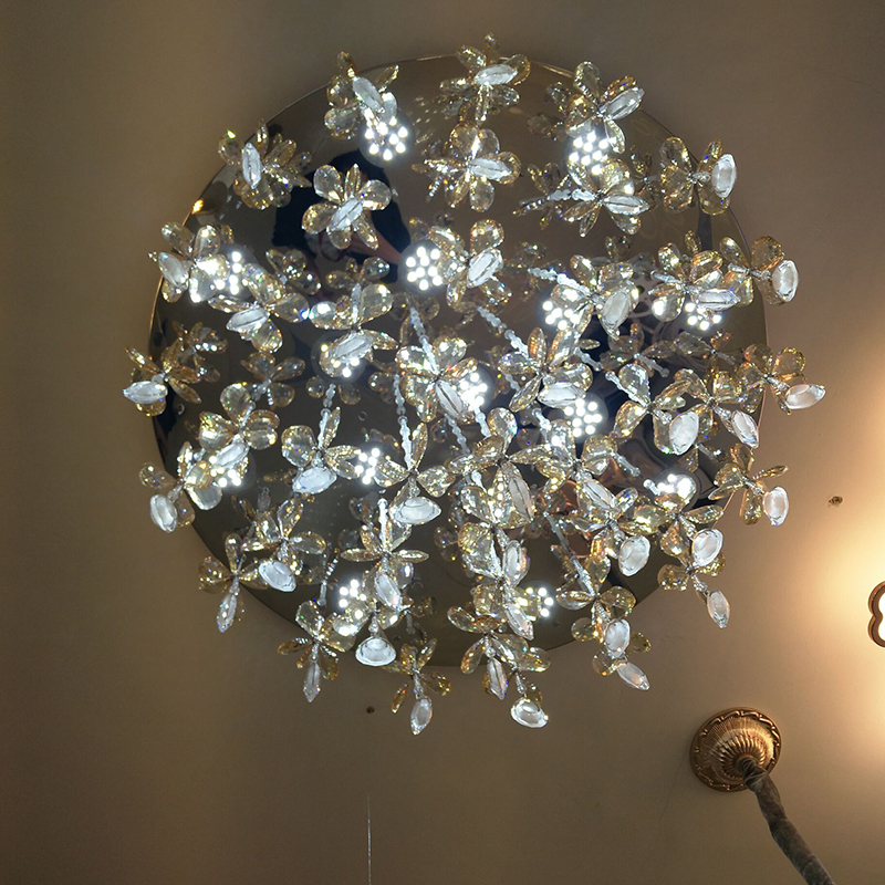 品灯阁漫客厅餐厅饭厅厨房主次卧室房间女孩吸顶水晶花朵LED灯具