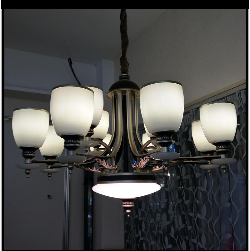 品灯阁美式全铜吊灯复古简约客厅灯别墅吊灯卧室灯简欧大气卧室纯铜灯