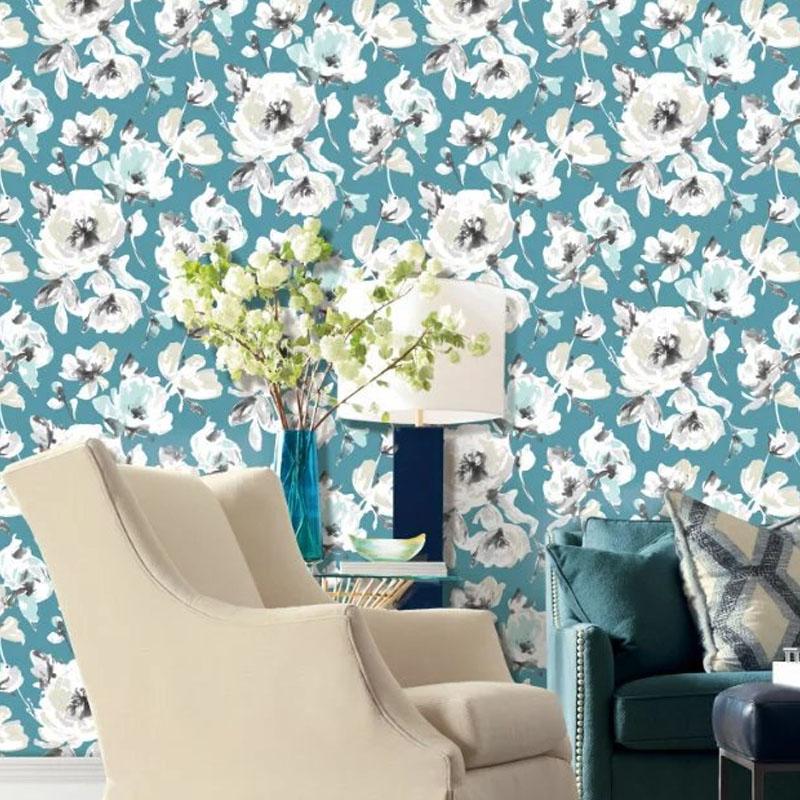 云廊软装墙纸FM67014复古电视背景墙壁纸 客厅卧室手绘墙纸 暗色花朵墙布壁画