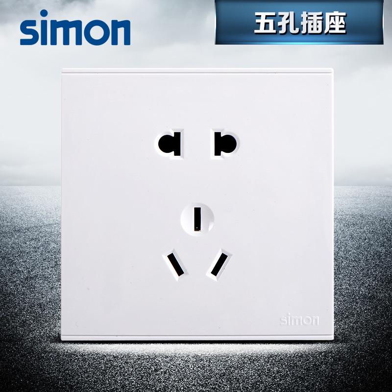西蒙(Simon)开关插座旗舰店二三插五孔电源墙壁E6系列开关插座面板