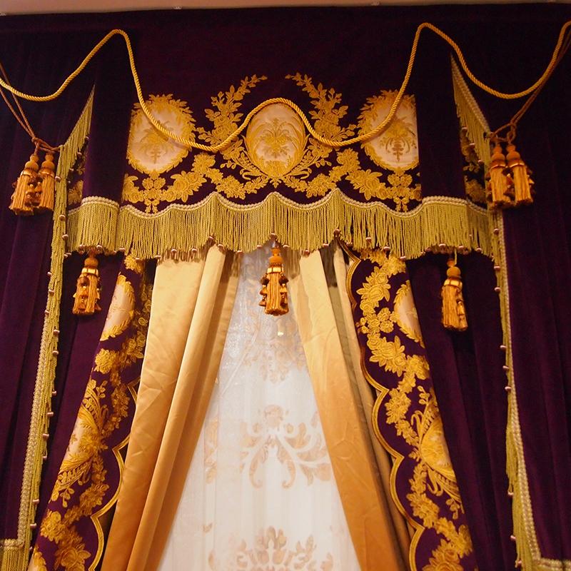维多利亚国际软装(VICTORIA)欧式丝绒客厅卧室高遮光窗帘 纯色别墅用窗帘全包可定制