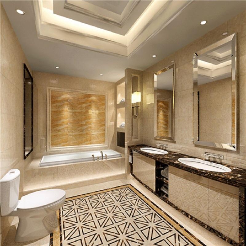 強輝陶瓷(QHTC)客廳室內地磚TDLC80218Q瓷磚800x800方形大理石瓷磚 云朵米黃 深色拿鐵