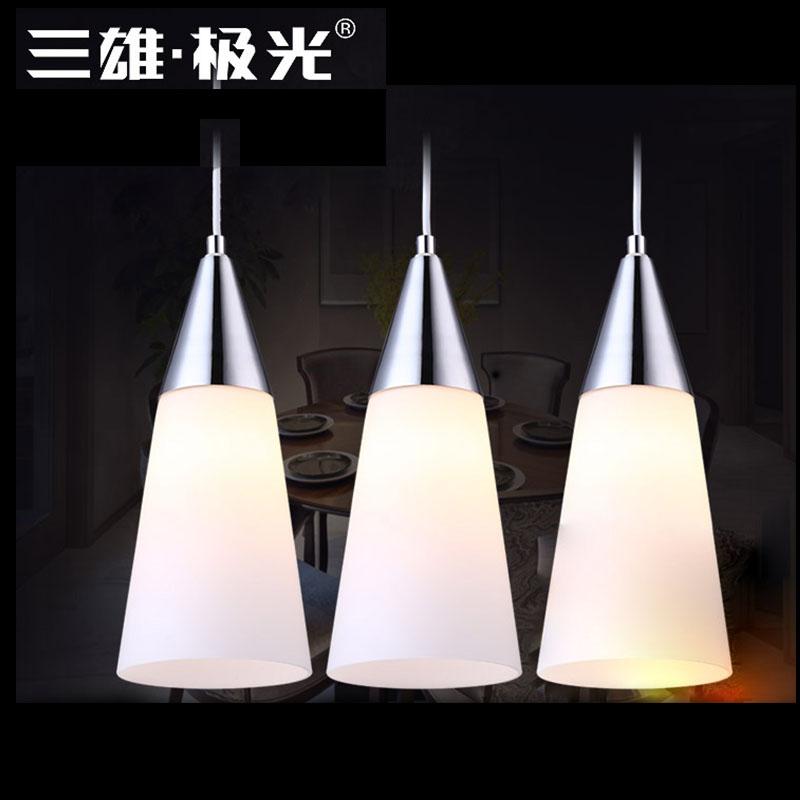 三雄極光(Sanxiong Aurora)餐吊燈谷玉E27接口魚線吊燈三頭現代餐吊燈線自由調節