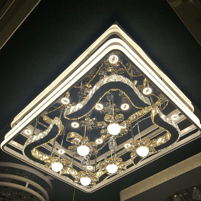铭豪灯饰(MENTOR)水晶灯 客厅灯 现代简约长方形创意气泡柱 大气灯具LED大厅吸顶灯