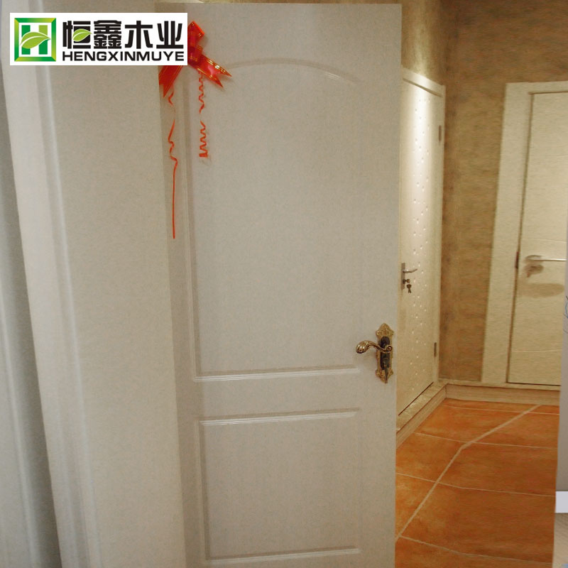 恒鑫木业 S5-027白色实木门定制 卧室书房静音平开式实木门套装