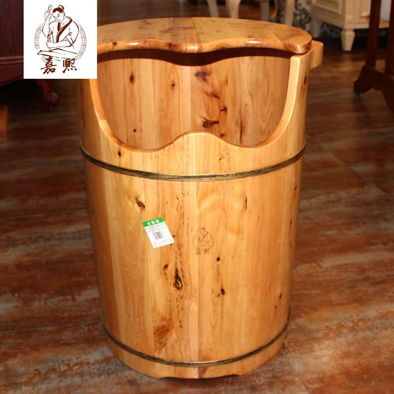 嘉熙新款有盖香柏木足桶加高桶1型泡脚木桶能到足三里洗脚浴足盆
