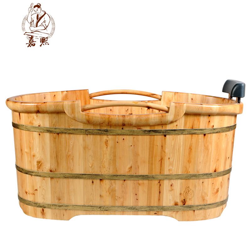 嘉熙成人浴时尚8型木桶泡澡香柏木浴桶配坐凳特价浴盆套装