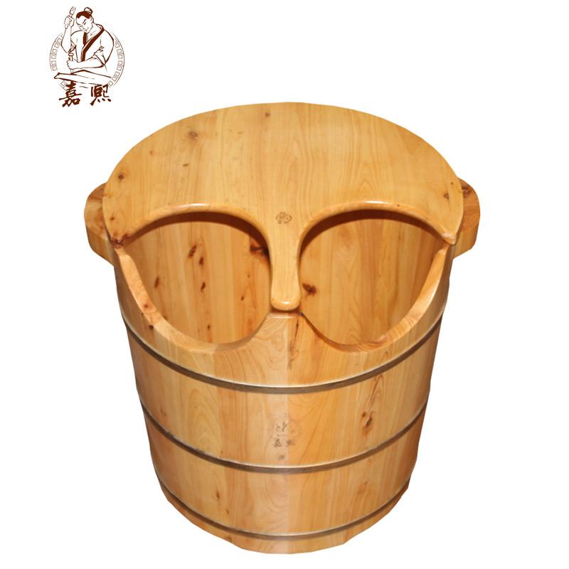 嘉熙木桶香柏木浴足桶W型浴足木盆洗泡脚木桶足浴木桶盆带盖加高