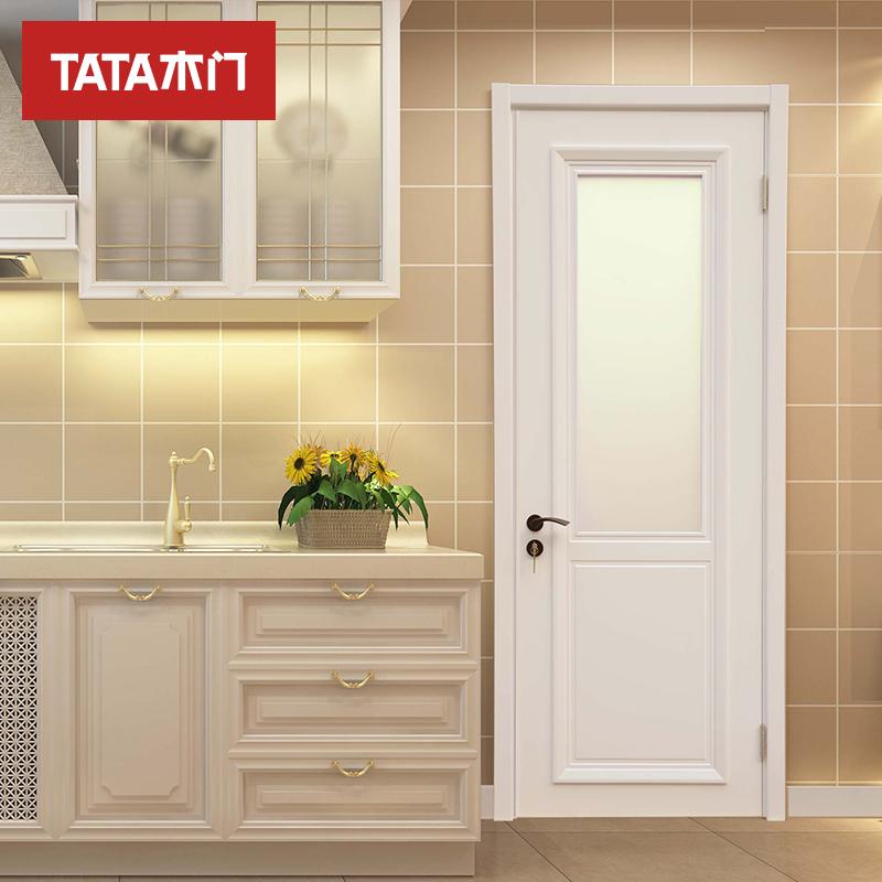 TATA木门 室内门油漆门 实木复合玻璃定制木门白混油BL040