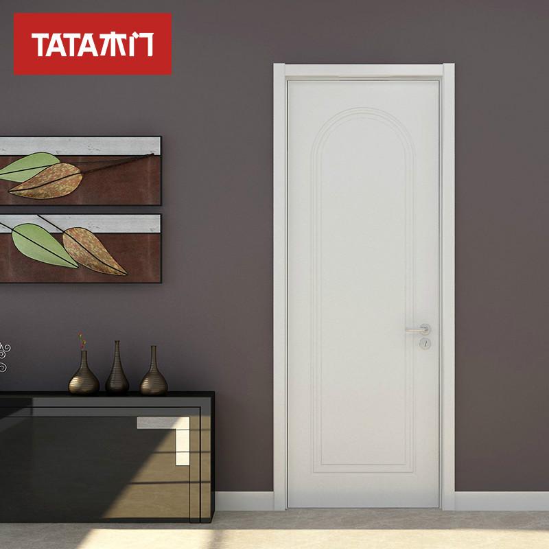 TATA木门 简约室内门 卧室门实木复合套装门定制木门@038瓷白色