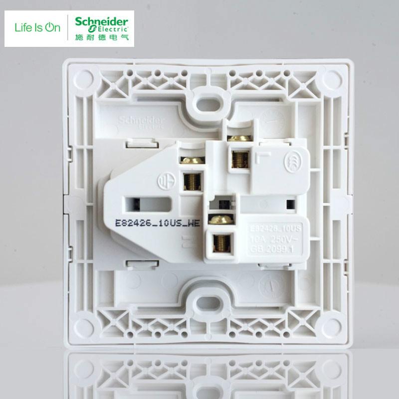 施耐德 二三插五孔插座墙壁电源开关插座面板10A丰尚金
