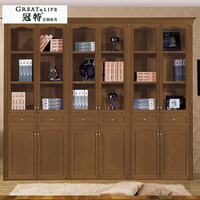 冠特定制家居 实木拱边玻璃门书柜 定制品