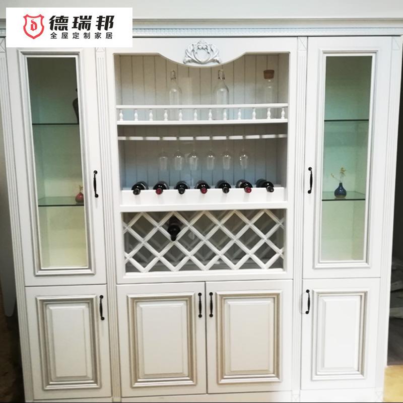 德瑞邦橱柜 客厅餐厅现代欧式酒柜定制 餐边柜大储物空间酒柜白色