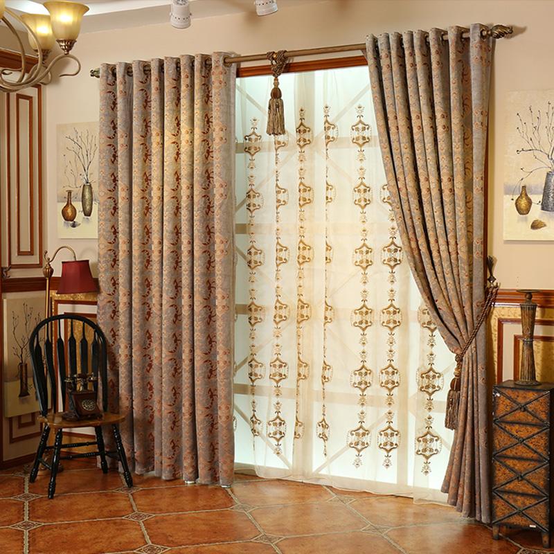 金逸印象--遮光窗帘欧式卧室客厅豪华大气落地窗绣花成品窗帘布