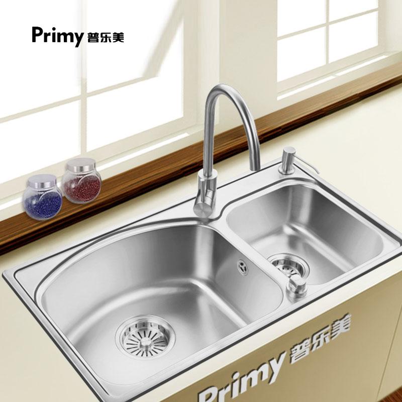 普乐美水槽 304不锈钢厨房水槽双槽套餐 台控下水DS312A