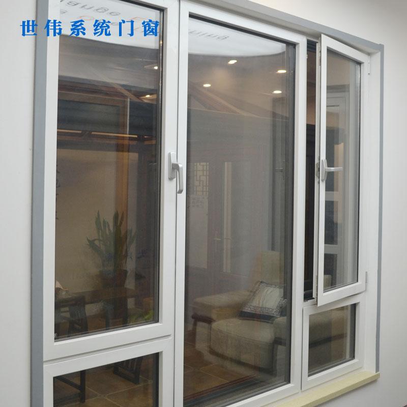 世伟门窗-断桥隔音铝合金平开窗 卧室落地铝合金平开窗 白色简约欧式平开窗