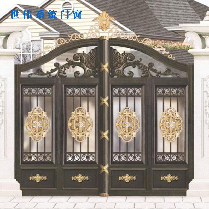 世伟门窗-高档铝艺欧式别墅庭院门铝合金耐腐蚀花园门