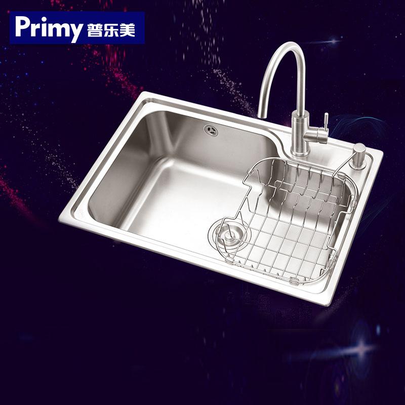 普乐美 水槽单槽 进口304不锈钢水槽套餐 大单槽厨房洗菜盆水盘