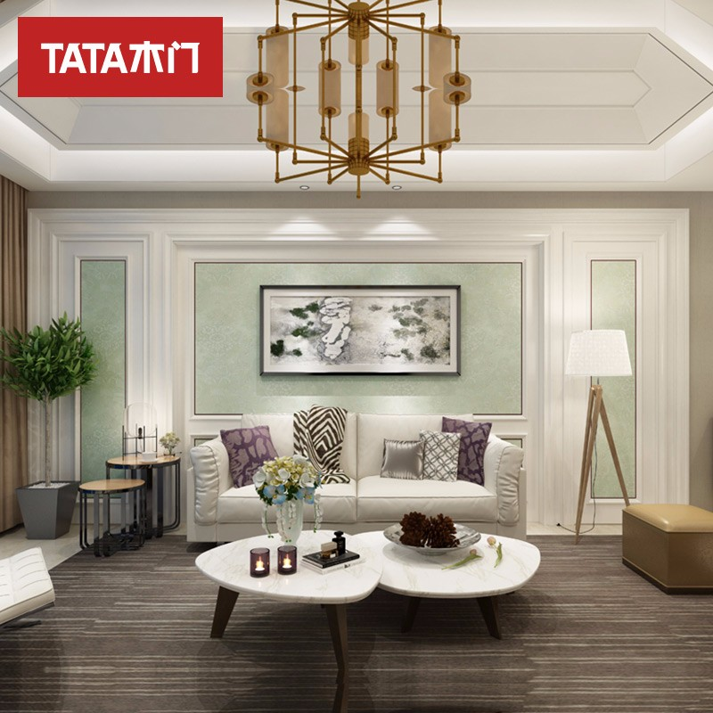 TATA木門(tata) 定制現代簡約客廳臥室書房電視床頭典雅2號背景墻BN套餐