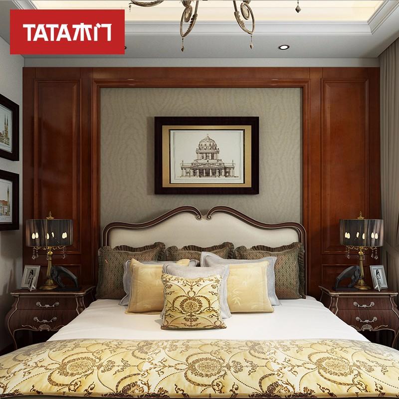 TATA木門 (tata)定制歐式客廳臥室書房典雅5號背景墻深色套餐(600)AN