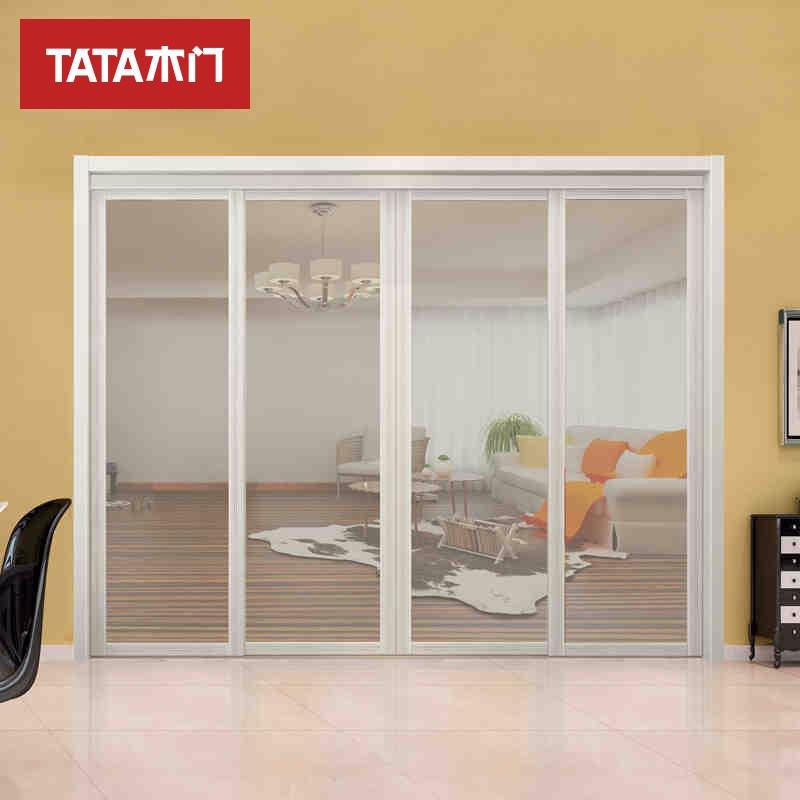 TATA木门(tata) 客厅门卫生间玻璃门 铝合金推拉门油漆混油白LM002