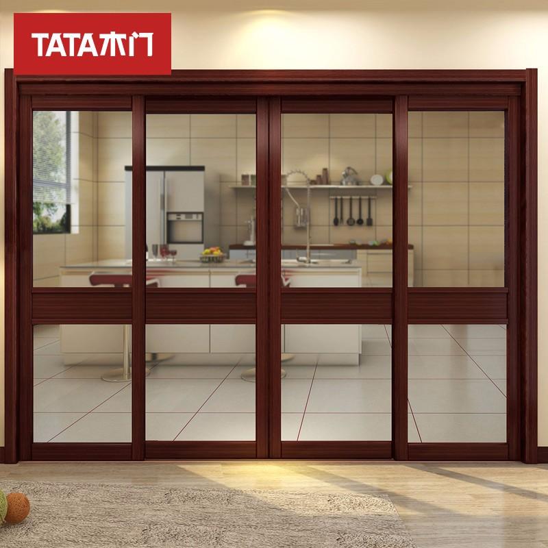 TATA木门(tata) 室内推拉门卫生间门玻璃镶嵌 铝合金推拉门 红珊瑚LM001