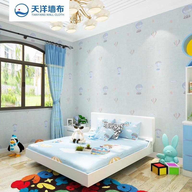【特价】天洋墙布(jcc)免胶水热熔无缝墙布 男女孩儿童房热汽球刺绣环保壁布D1005