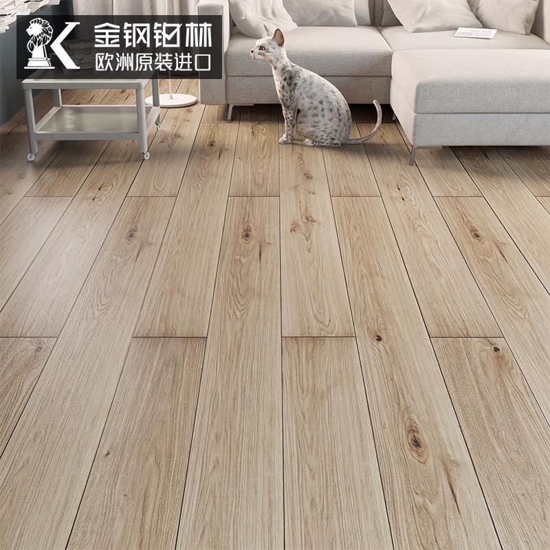 金钢铂林 地板 德国原装进口家用12mm耐磨E0级环保强化复合地暖木地板 本色橡木12mm 1285x192x12mm