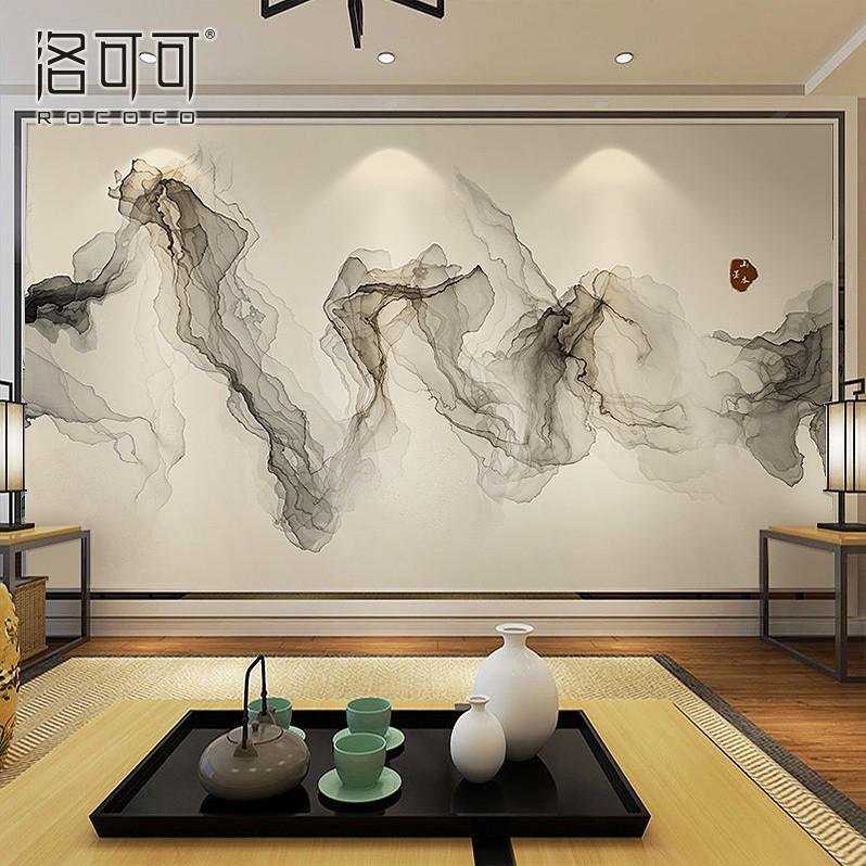 新中式沙发电视背景墙墙纸客厅墙布现代写意抽象壁画山水墨画壁纸