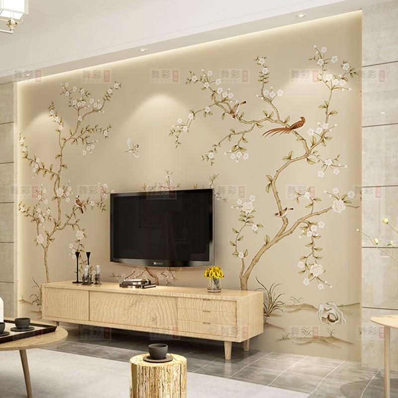 复古墙纸电视背景墙新中式壁纸无缝定制壁画花鸟客厅卧室墙布