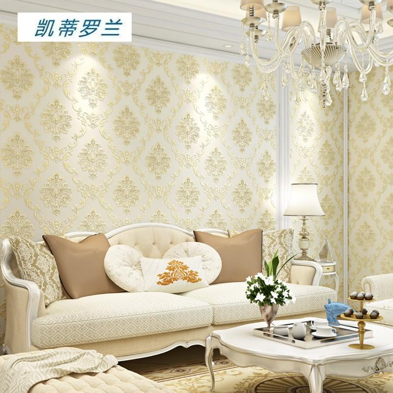 凯蒂罗兰 欧式无纺布3d立体浮雕精压壁纸 卧室客厅背景墙纸 高端环保奢华