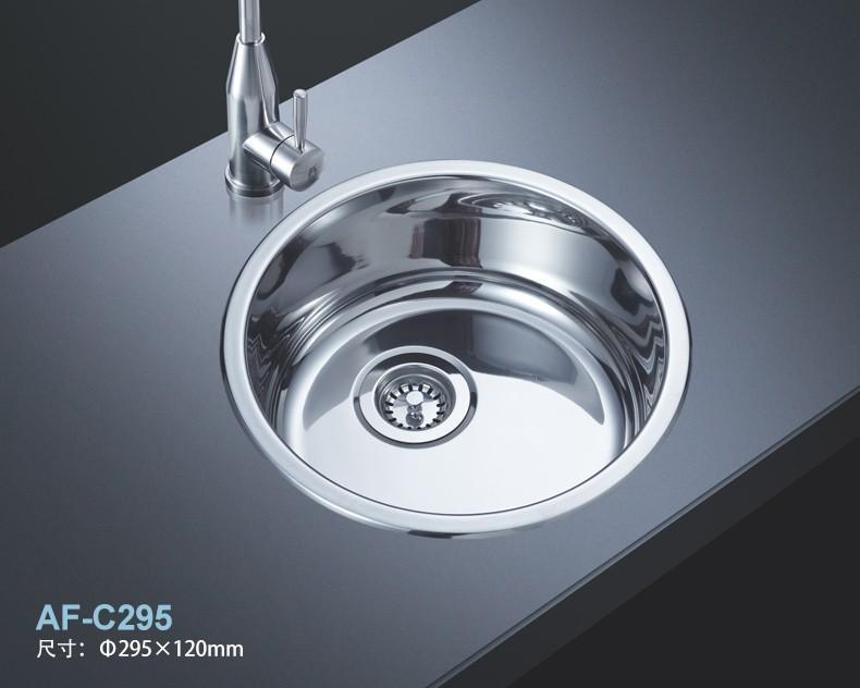 阿发304不锈钢圆水槽 迷你吧台加厚单槽套餐 C295