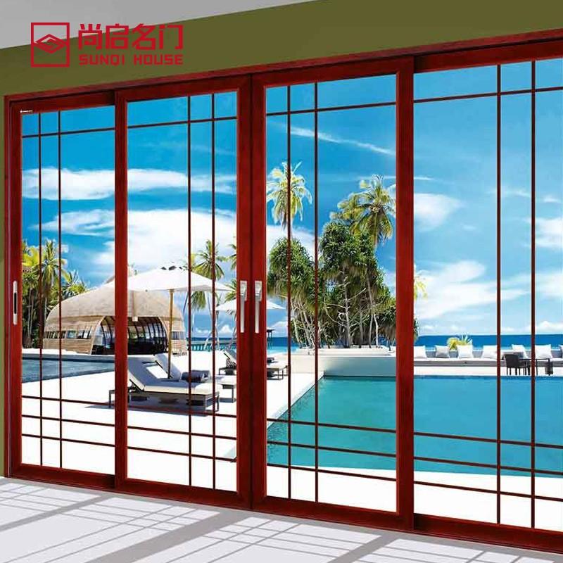 尚启名门 豪华移门推拉滑动钛合金门钢化玻璃中空门厨房移门SQ020