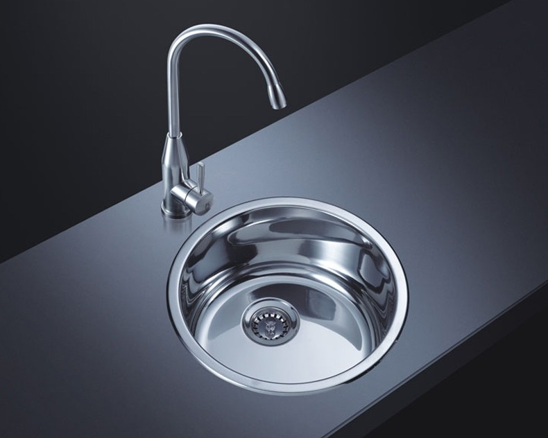 阿发304不锈钢小水槽 圆形吧台槽圆单槽 厨房洗菜盆加厚C340