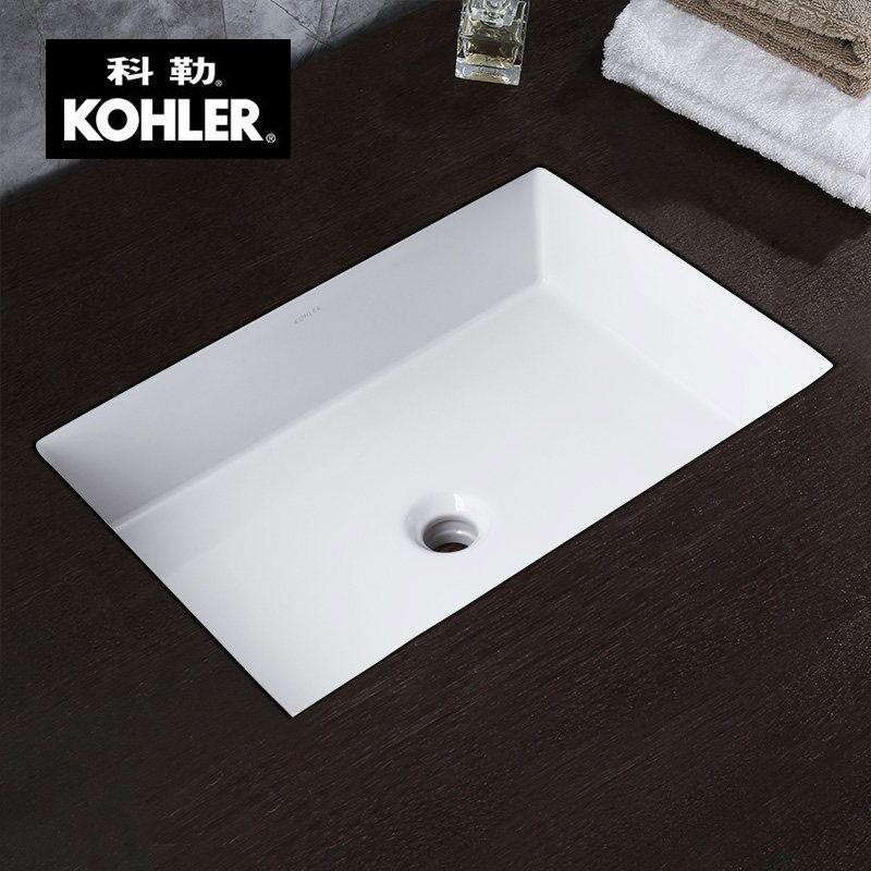 科勒卫浴台盆 维克长方形台下陶瓷洗手洗脸盆台下盆K-2889T