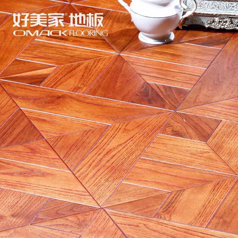 好美家地板 实木多层拼花地板环保家用15mm自由拼2mm表皮厚度耐磨